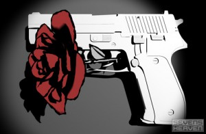 pistol with a rose