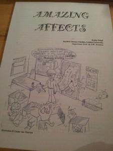 Mijn vriend maakte de voorkant van mijn thesis, die over wetenschap in kinderboeken ging.