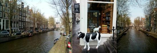 Amsterdamse grachten en toeristenkaaswinkel